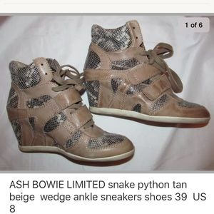 ASH LIMITED BOWIE snake wedge high tops shoes 39 8